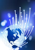 Globe on Fiber Optic Background. 