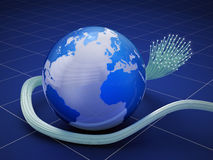 Globe with fiber optic cable Stock Photos
