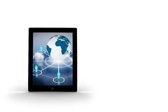 Globe and figures on tablet screen. On white background Stock Photography