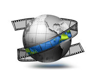 Globe with film strip Royalty Free Stock Photos