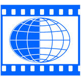 Globe in film frame. Globe in the film strip frame Stock Photos