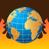 Globe on fire. Global warming Royalty Free Stock Photos
