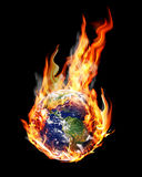 Globe fire. Globe in the fire and smoke Royalty Free Stock Images