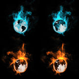 Globe in a fire. On a black background Royalty Free Stock Photography