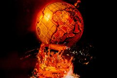 Globe On Fire Art Symbol of Apocalypse. Globe On Fire Art , symbolizes Apocalypse , End Of The World , Global catastrophe , Destruction of our planet , World War Stock Image