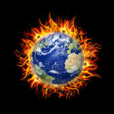 Globe in Fire. Illustration of Globe in Fire background Royalty Free Stock Images
