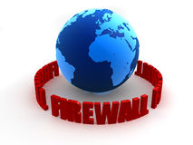 Globe firewall. 3d rendered illustration of a globe and the words firewall Stock Images