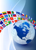 Globe with Flag Banner on Abstract Color Background Stock Images
