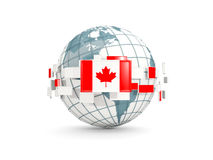Globe with flag of canada isolated on white. 3D illustration Stock Image