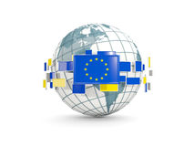 Globe with flag of european union isolated on white Royalty Free Stock Photo