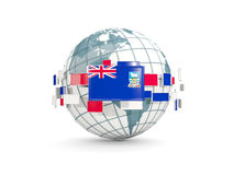 Globe with flag of falkland islands isolated on white. 3D illustration Stock Photography