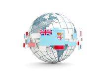 Globe with flag of fiji isolated on white Stock Image