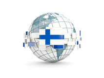 Globe with flag of finland isolated on white. 3D illustration Stock Photos