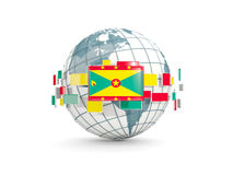 Globe with flag of grenada isolated on white Royalty Free Stock Image