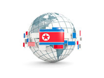 Globe with flag of korea north isolated on white Stock Image
