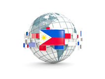 Globe with flag of philippines isolated on white Royalty Free Stock Photo