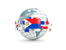 Globe with flag of sint maarten isolated on white Royalty Free Stock Images
