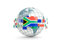 Globe with flag of south africa isolated on white Stock Photos
