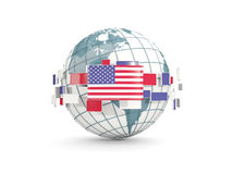 Globe with flag of united states of america isolated on white Stock Photo