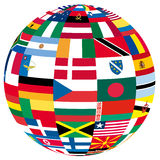 Globe with flags. Illustration of a globe filled with different flags Royalty Free Illustration