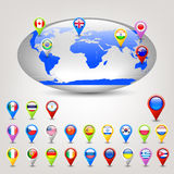 Globe with flags. Vector illustration of globe with flags stock illustration