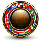 Globe with flags around. 3D vector illustration Stock Photos
