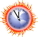 Globe-flame-clock. A vector watch over a fiery earth Royalty Free Stock Images