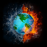 Globe in Flame and Water Stock Images