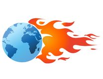 Globe with flames vector royalty free illustration