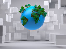 Globe floating in room with cubes Stock Images