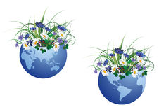 Globe and flowers. Set of vector illustration with globe and flowers stock illustration