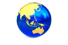 The globe focus to the Asia-Pacific zone. The metal globe displays the golden continent isolated on the white background stock illustration