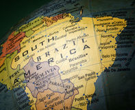 Globe focused on Brazil Royalty Free Stock Images