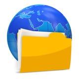 Globe with Folder on white background. 3d Image Royalty Free Stock Photography