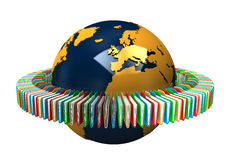Globe With Folders. Globe with colored folders on the white background Stock Photo