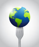 Globe and fork illustration design. Over a white background Royalty Free Stock Images