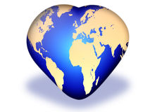 Globe in the form of heart Royalty Free Stock Image