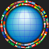 Globe in a frame of flags Royalty Free Stock Image