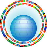 Globe in a frame of flags Stock Photo