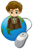 A globe with a frowning businessman and a mouse Stock Photos