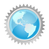 Globe in gear. Background vector Stock Images