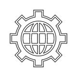 Globe gear communicaton business leadership thin line. Vector illustration eps 10 Stock Photography