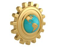 Globe and gear on white background. 3D illustration. Globe and gear on white background. 3D illustration stock illustration