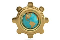 Globe and gear on white background. 3D illustration. Globe and gear on white background. 3D illustration vector illustration