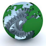 Globe with gears Stock Photos