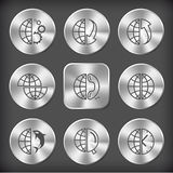 Globe and gears, and array down, and array up, shift globe, and Stock Photos