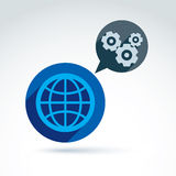 Globe with gears, global business and cooperation concept Stock Photography
