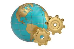 Globe and gears on white background. 3D illustration. Globe and gears on white background. 3D illustration royalty free illustration