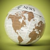 Globe with generic newspaper texture. 3D illustration.  Royalty Free Stock Images