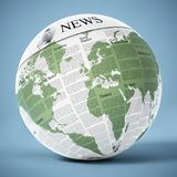 Globe with generic newspaper texture. 3D illustration.  Stock Photo